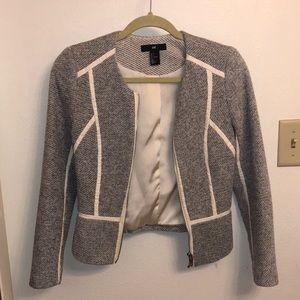 Women's H&M Faux Leather Trimmed Blazer